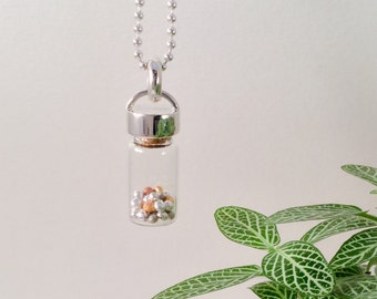 Handmade Gold and silver nugget, glass bottle curiosities pendant