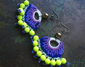 Statement Neon Crochet Earrings