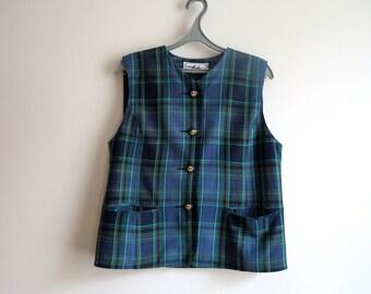 Green Plaid Womens Vest Steampunk Vest Checkered Waistcoat Size L