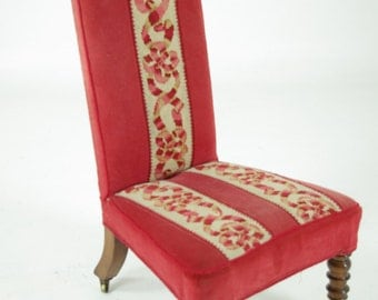 B593 Antique Victorian Rosewood Prie Dreu Chair, Upholstered Seat