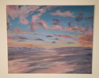 "Sunset Ocean Seascape 20""x16"" canvas"