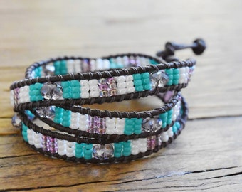 Triple Leather Wrap Bracelet with Czech Faceted Glass Beads and Seed Beads