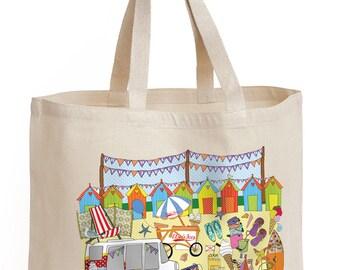 Shopping bag, seaside design, shopper, tote, shoulder bag, nostalgic seaside bag, strong bag, cotton canvas bag. Gift for friend