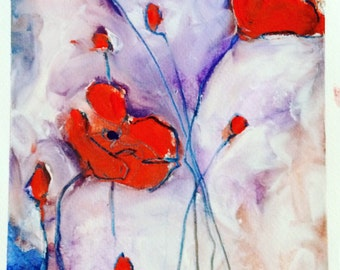 Red Poppies on Blue Background