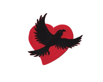 Raven Heart  Patch - Raven Heart  Embroidered Iron on Patch  - Raven Heart  Iron on Applique