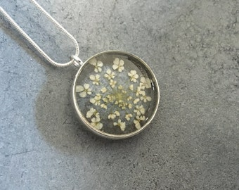Reversible White Queen Anne's Lace against Smokey Silver Grey Open Back Bezel Resin Necklace, Resin Pendant, Pressed Flower Necklace