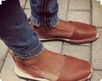 TUSK LEATHER Sandal Tan Slingback no strap | Womens Leather Sandal / Womens Shoes / Leather Shoes / Sizes EU 36 - 42.