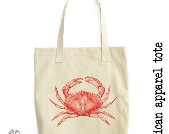 Red Crab Tote Bag, LA Apparel, Urban, Animal, Animals, Nautical, Sea, Vintage, Hipster, Cute Gift