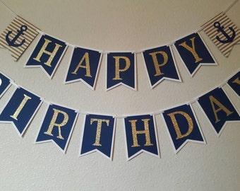Nautical Birthday Banner / Happy Birthday Banner / Anchor Birthday Banner / Nautical Party Decor / Nautical Party Banner / Anchor Decor