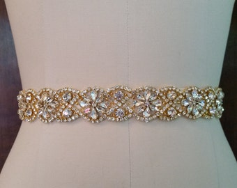 Wedding Belt, Bridal Sash Belt - GOLD Crystal Wedding Sash Belt