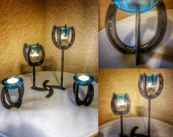 3pc. Handmade Horseshoe Votive Candle Set