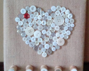 Buttons and Burlap Necklace holder,Key holder,Handmade,Buttons,Shabby Chic,Heart,Personal,Gift,Unique,Wooden Spools