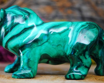Malachite Crystal Lion Sculpture - Stone Animal Figurine-  1139.82
