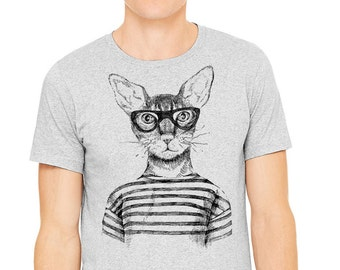 Hipster t-shirt, Gray T-shirt, Men's t-shirt, drawing of hipster cat with glasses  printed on athletic gray t-shirt, Cat shirt, Cat t-shirt