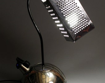 Retro desk lamp with funky and vintage kitchen and bicycle stuff