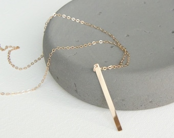 Long Vertical Bar Necklace,Flat Shiny Bar,Minimal/Simple,Sterling Silver,14k Gold Filled,14k Rose Gold Filled,Everyday Necklace/Puka Beach