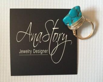 Turquoise Chunk Ring