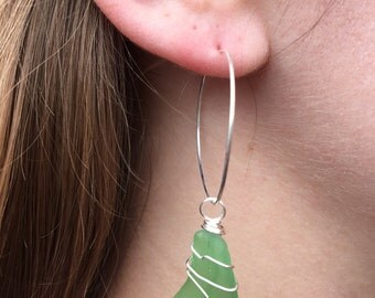 Green Sea Glass | Silver Wire | Hoop Earrings