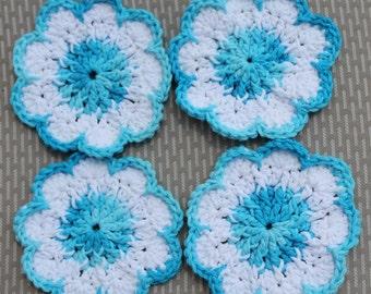 Crochet Coasters Blue Flowers