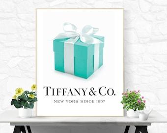 Tiffany and Co Print Tiffany Wall Art Tiffany and Co Poster Printable Fashion Print Digital Download Tiffany Print Blue Box Print