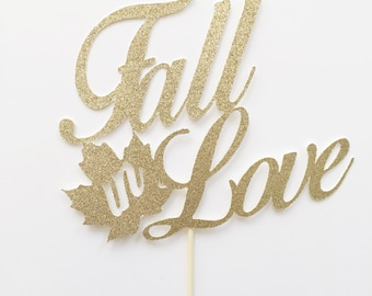 Fall Wedding Decor - Wedding Decor - Fall in Love - Fall in Love Cake Topper - Rustic Wedding Decor - Rustic Wedding - Wedding Cake Topper