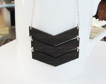 Wood Chevron Necklace, Triple Chevron Pendant, Geometric Necklace, Handmade Chevron Wood Pendant, Tribal Necklace, Layering Necklace, Retro