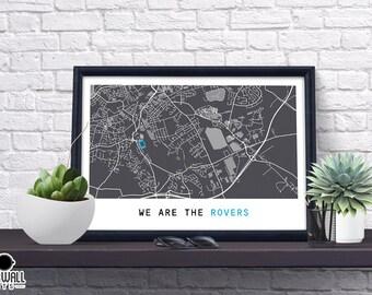 Blackburn Football Poster, Football Poster, Football Print, gift, Map Print