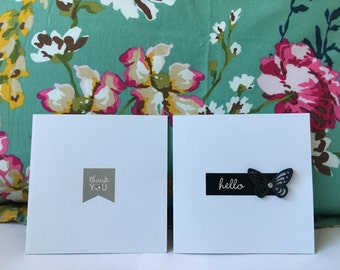 Handmade set of 2 one off Greeting Cards