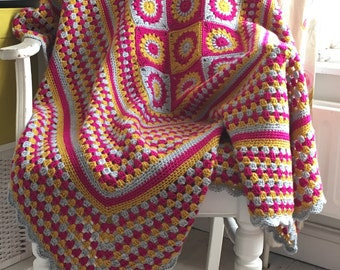 Crochet Throw in Gold Silver Pink 43 inch square crocheted in a soft acrylic yarn. Wheelchair Accessories Lapghan in unusual colours