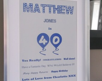 Personalised Birthday Gift Idea/Memory Day Print.Better Than A Card! Good Value!