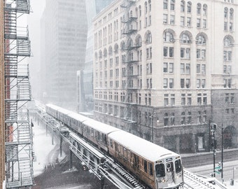 Chicago Photography Print - 'L' Train in Winter