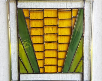 Stained Glass Corn Art Farm Vegetable Iowa Yellow Suncatcher