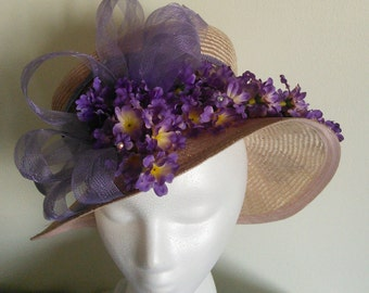 Handmade Lilac flower Straw Hat