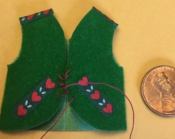 Dollhouse Miniature green vest with heart trim and red tie