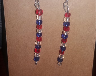 Red Clear Blue Glass Beads Earrings