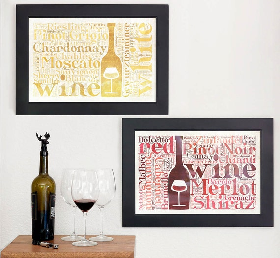 Red Wine Wall Decor : Wine wall art kitchen decor prints by