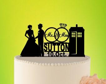 Doctor Who Wedding Cake Topper, TARDIS Wedding Cake Topper, TARDIS Wedding Decor, Doctor Who cake Decor, wedding cake topper, Mr Mrs Topper