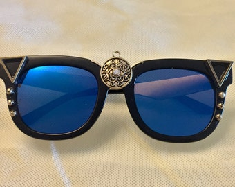 Blue Lens Wayfarers with Gold Arms  (Ready to Ship)