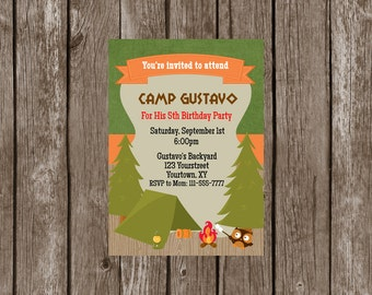 Camping Invitation, Campout Party Invitation-Digital