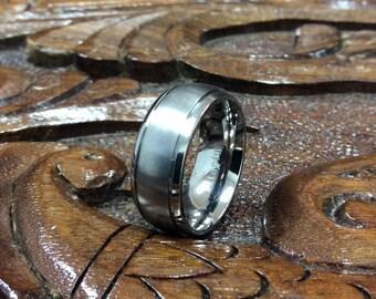 Free Engraving-Titanium Ring Brushed Center Shiny Beveled Edge 8mm