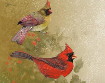 "CARDINALS- A Digital Print on streched Canvas measuring 10 1/4"" x 13""."