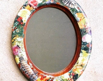 Wood Decoupage Collage Flower Feather Mirror