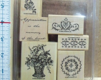 Stampin' Up - Memory of the Heart - 2003 - 6 Piece set - floral - cardmaking - Victorian