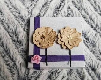 Rustic Wedding Paper Flower Bobby Pins, Set of 2