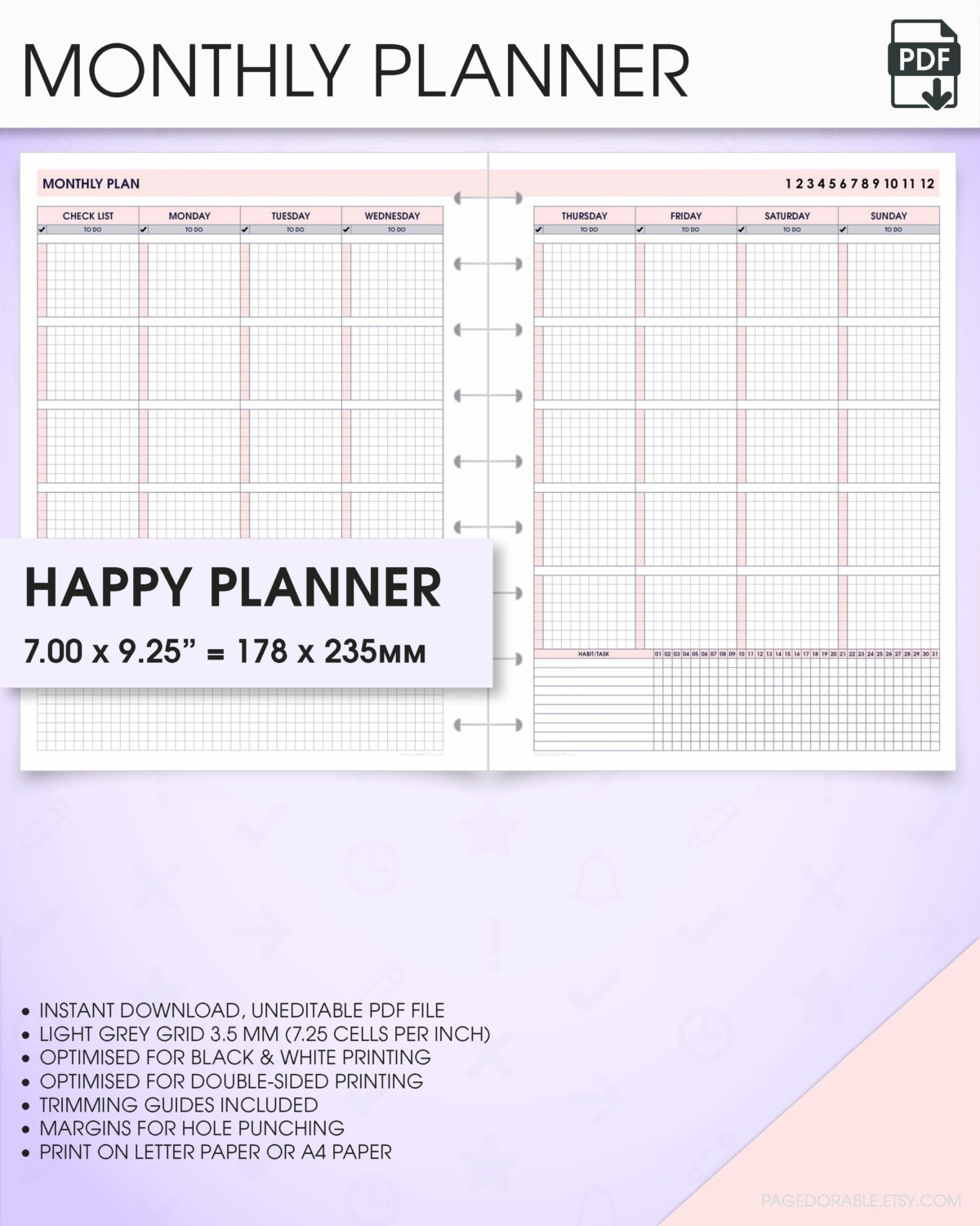 Happy Planner Calendar Printables : Monthly happy planner printable inserts undated mo p