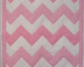 Baby Quilt - Pink and White Chevron Baby Quilt - Baby Girl Quilt