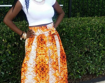 long orange & white ankara skirt