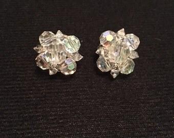 Vintage aurora borealis crystal cluster earrings