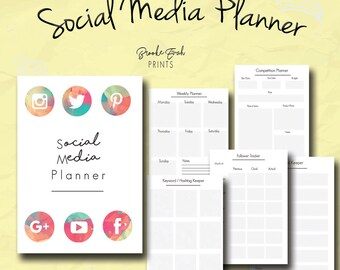 Social Media Planner, Business Organizer, Business Kit, Weekly Planner, Follower Tracker, Competition Planner, Password Log, PDF
