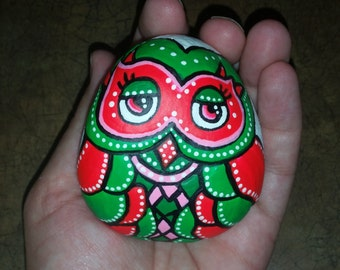 Pink and green owl